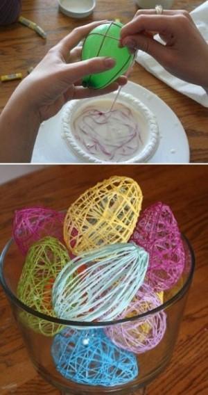 Пасхальные яйца из ниток