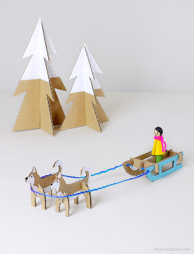 husky-sled-cardboard-toy-templates