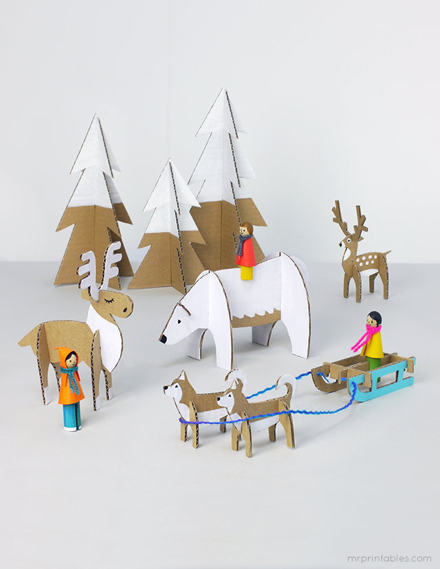 peg-doll-winter-cardboard-animals