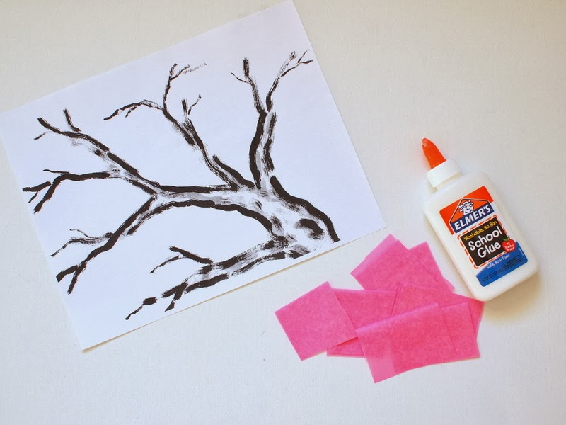 2 How to make cherry blosstom tissue paper flower kids craft (tree printable included)