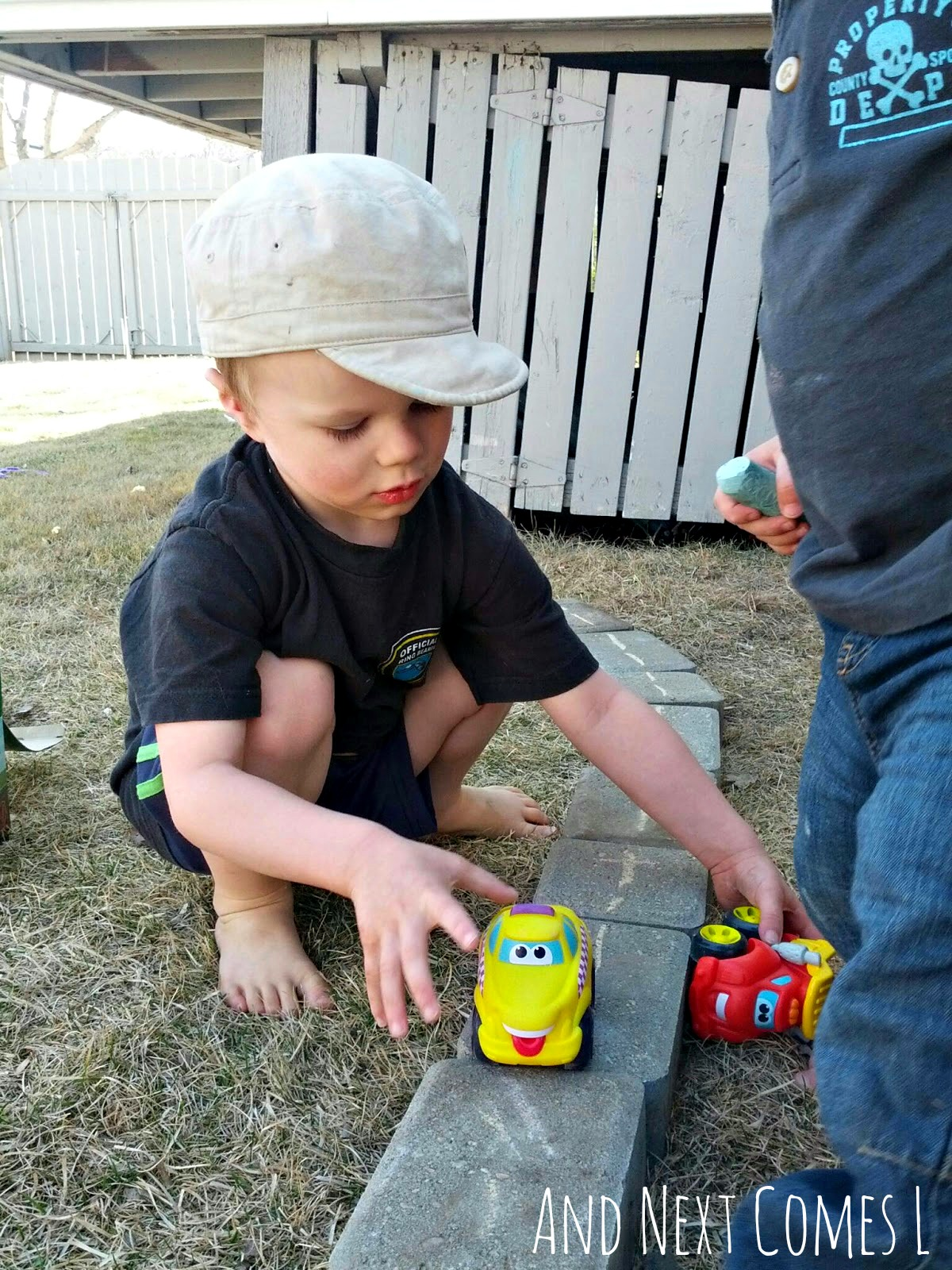 playing-with-cars-on-diy-outdoor-roads1